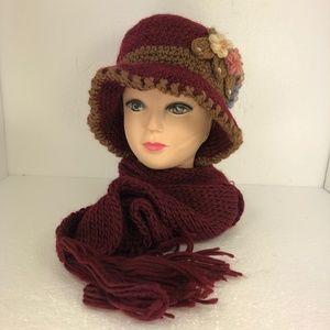 Ladies Knitted Flower Hat & Scarf Set Maroon